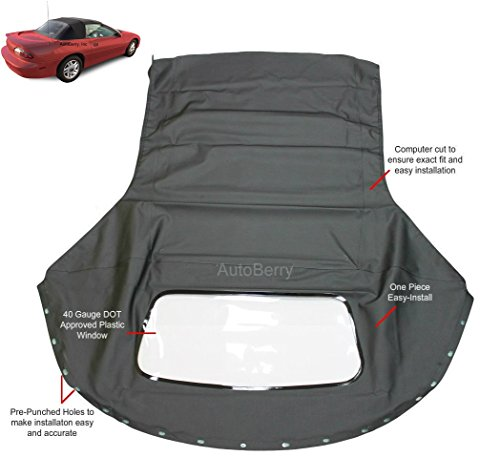 Compatible With Chevrolet Camaro 1994-2002 Convertible top & plastic window Black Sailcloth (1 piece Easy install) (Camaro Parts Convertible)