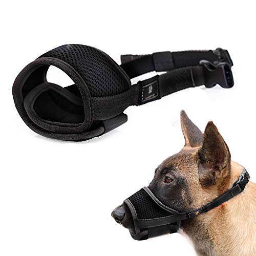 - Nylon Dog Muzzle - Anti-Biting Barking Secure Fit Dog Muzzle - Mesh Breathable Dog Mouth Cover for Small Medium Large Dogs (L, Black)