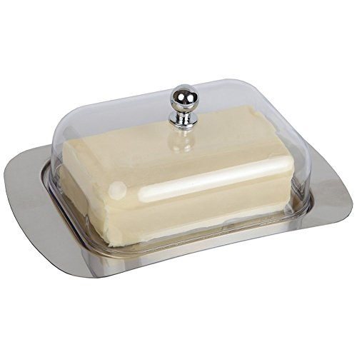 AMZLUCKY - 1Pc Durable Stainless Steel Butter Dish Box Container Cheese Server Storage Keeper Tray With Acrylic Lid For Kitchen Dinnerware