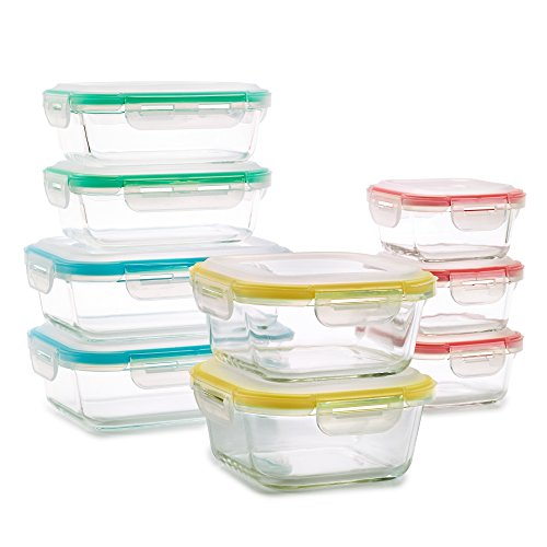 Vibz 18 Piece Premium Glass Food Storage Containers with Domed Snap Tight Lids - Safe for Oven, Microwave, Dishwasher, Freezer - Odor Proof and Stain Proof - BPA Free Lead Free - Glass Tupperware Set