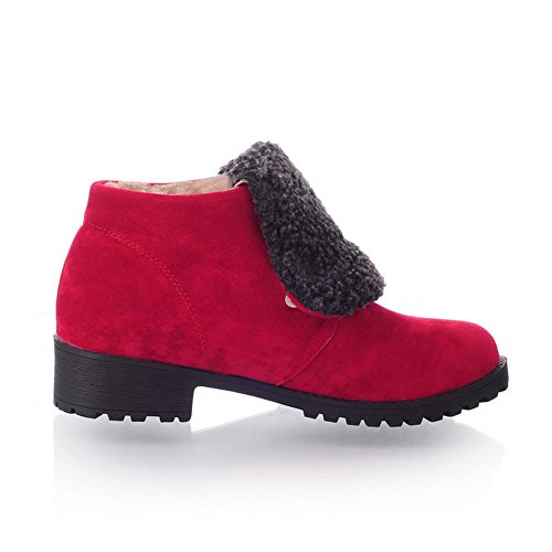 Square Girls Solid Heels Red AmoonyFashion Frosted Heels Low Closed Toe US 5 with M B Round and PU Platform 8 Boots Owpxpd8qX