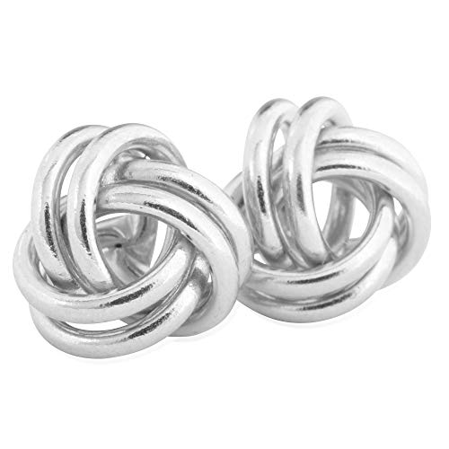 14KT White Gold Love Knot Fashion Earrings for Women, 10mm - Comfortable and Secure Stud ()