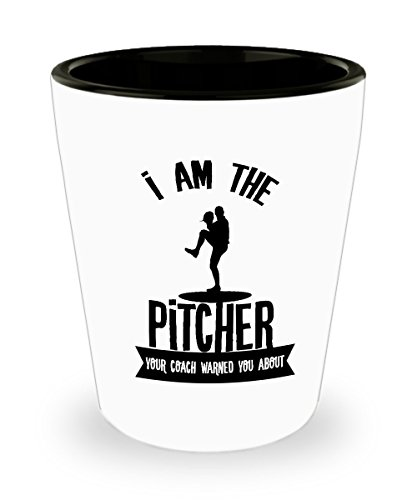 (Best Shot Glass Coffee Mug-Baseball Gifts Ideas for Men and Women. I am the pitcher your coach warned you about. )