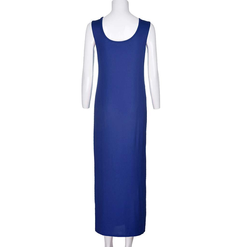 Twinsmall Maternity Dress, Women's Ruched Boho Sleeveless Maternity Pregnant Dress (M, Blue) by Twinsmall (Image #4)