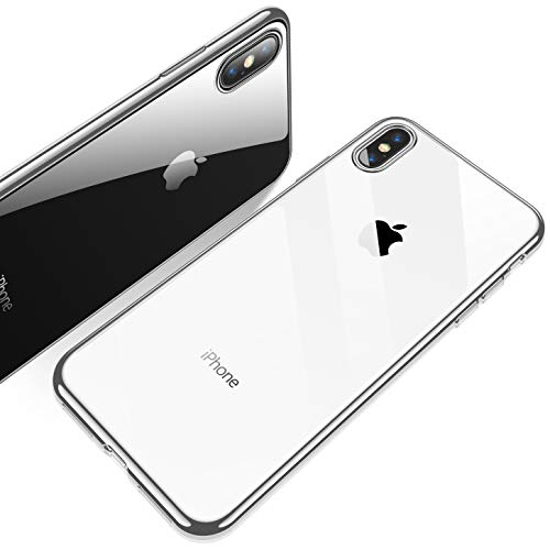 RANVOO iPhone Xs Case, Ultra Thin Slim Soft Crystal Clear Protective Premium TPU Case with Chrome Bumper Case for Apple iPhone Xs 5.8, Crystal Silver