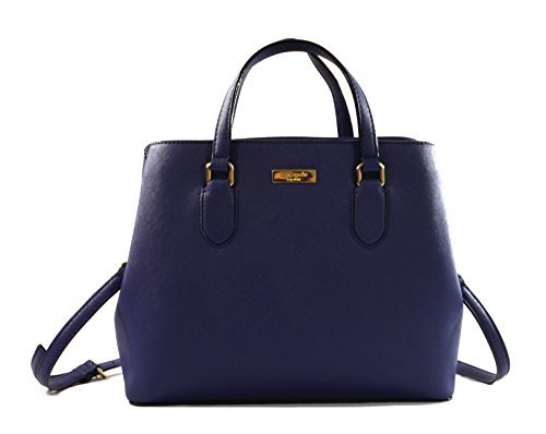 Kate Spade New York Laurel Way Evangelie Saffiano Leather Shoulder Bag Satchel (Oceanic - Blue Spade Kate
