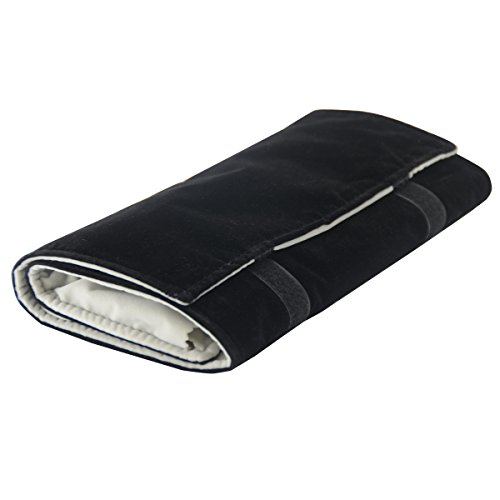 Black Velvet Jewelry Travel Roll - Vinerstar Jewelry Roll Bag For Holding Jewelry Organizer 16 Hook Velvet Black