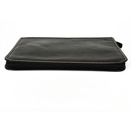 Portadocumentos A4 En Piel Verdadera Con Compartimentos Interiores Color Negro - Peleteria Echa En Italia - Business