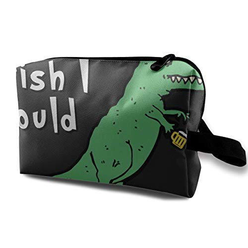 With Wristlet Cosmetic Bags Dinosaur I Could Drink This Beer Travel Portable Makeup Bag Zipper Wallet Hangbag]()