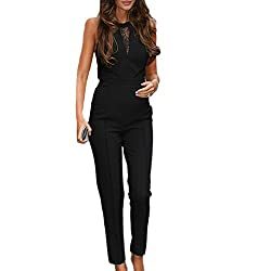 SUNNOW Women Black Sleeveless Lace Playsuit Club Cocktail Jumpsuit Romper