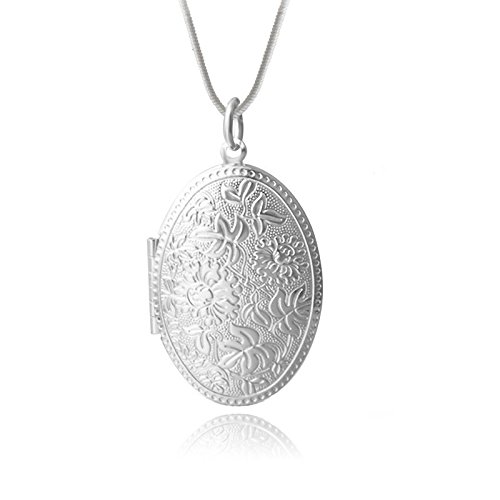 Verziertes Medaillon Amulett Silber Foto Bild Halskette Kette Anhänger