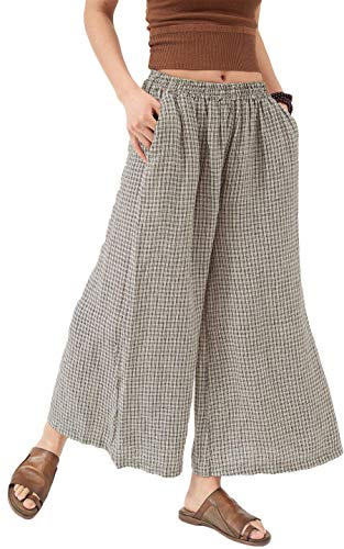 Les umes Ladies Womens Casual Loose Linen Elastic Waist Relaxed Trousers Cropped Wide Leg Culottes Pants Gray-Black 6