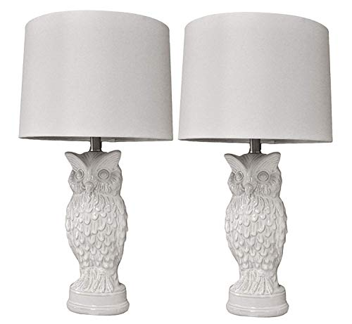 27H White Owl Ceramic Bedroom Living Room Table Lamp Home Decoration Pack