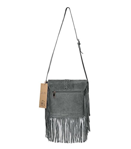 Grey body Nubuck Leather Shoulder Bag Bag Cross Tassels Women's ZLYC w6Rxazq76