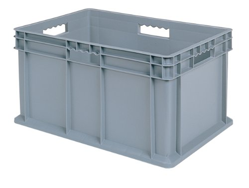Akro-Mils 37682 Straight Wall Container Tote with Solid Sides and Solid Base, 24-Inch by 16-Inch by 12-Inch, Case of 3, Grey by Akro-Mils