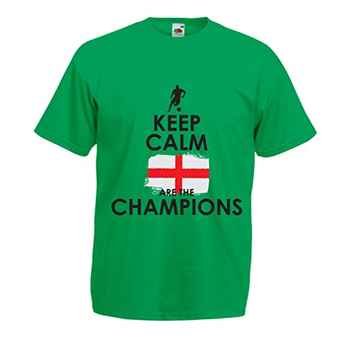 - N4517 T Shirts for Men Keep Calm, English are The Champions! (XX-Large Green Multi Color)