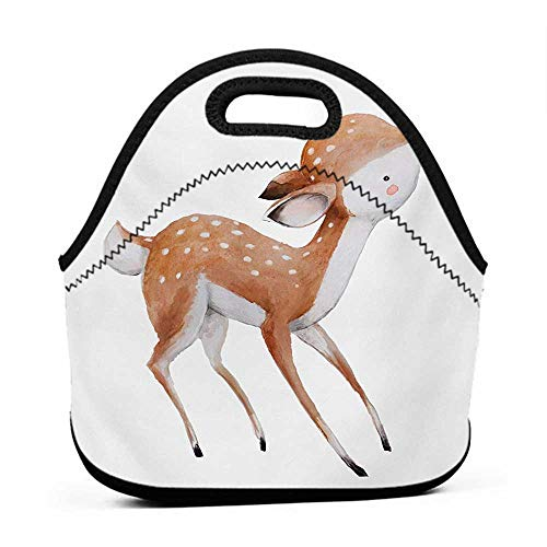 Neoprene Lunch Bag Kids,Young Deer with Pink Butterfly Lovely Forest Life Theme in Watercolors,Pale Caramel Coconut Pink,ice bag for ()