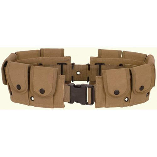 Ultimate Arms Gear Tactical Khaki Tan, Utility Pouch, Cartridge Ammo Tool, Heavy Duty Cotton Canvas Belt (Ammo Belt Buckle)