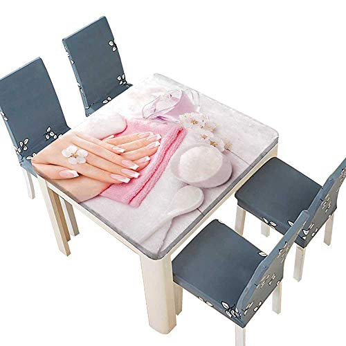 Natural Apricot Spa (PINAFORE Natural Tablecloth French Manicure with Essential Oils Apricot Flowers spa Suitable for Home use 49 x 49 INCH (Elastic Edge))