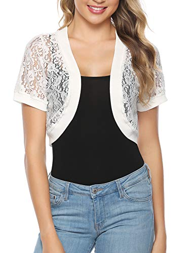 Abollria Women Short Sleeve Floral Lace Shrug Open Front Bolero - Shrug Embroidered