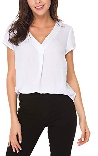 ACONIYA Womens Short Sleeve Blouse Casual Office Work V Neck Chiffon Shirt Elegant Vintage Loose fit Tunic Tops,White XL