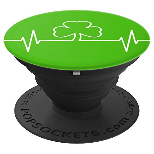 St Patricks Day Irish Nurse Shamrock Heartbeat - PopSockets Grip and Stand for Phones and Tablets