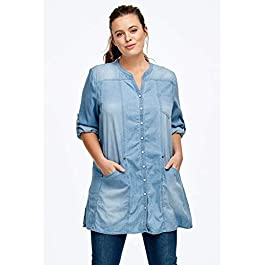 Ellos Women's Plus Size Snap Front Denim Tunic