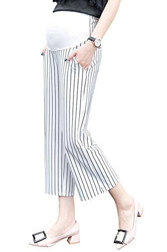 (Maternity Pants Slacks Work Palazzo Pants Stretch Lounge Pregnancy Support Pants Women(White, Medium))