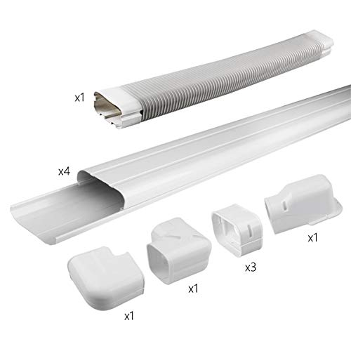 Air Jade AC Line Set Cover Kit, Decorative PVC Tubing Cover for Ductless Mini Split and Heat Pumps Systems & Central Air Conditioner, Condenser Units (4 in 14ft)