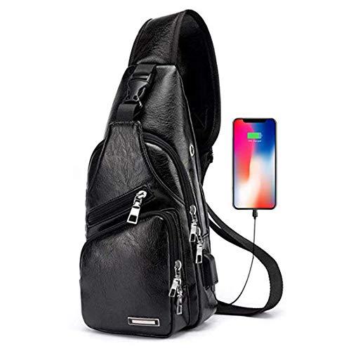 Men's Large PU Leather Sling Backpack Chest Shoulder Crossbody Bag with USB Charging Port (Large Black) - Leather Shoulder Frame Bag