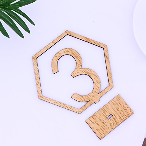 OULII 1-20 Hexagon Wooden Table Numbers with Holder Base for Wedding Birthday Engagement Decoration 20pcs by OULII (Image #4)