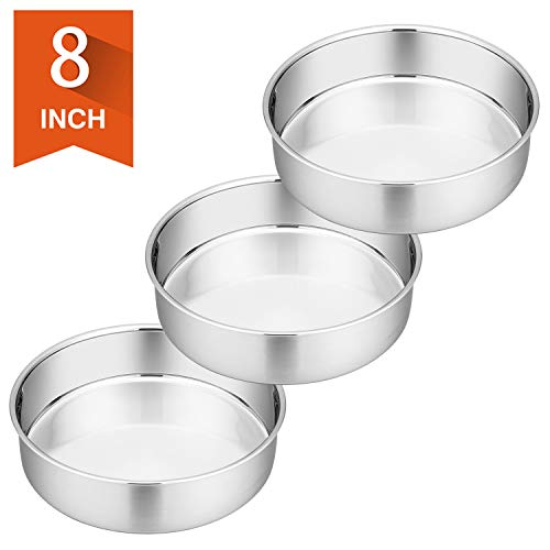 8 Inch Cake Pan Set of 3, P&P CHEF Stainless Steel Round Baking Pans LayerCakePans Tin Set, Fit Oven/Pots/Pressure Cooker, Non Toxic & Heavy Duty, Dishwasher Safe