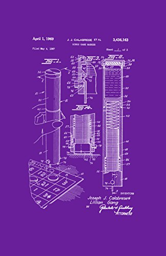 Framable Patent Art PAPSSP104P The Original Poster Art Print Bingo Night Family Game 11in by 17in Patent, Purple by Framable Patent Art
