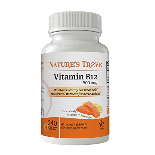 500 Mcg Folic Acid (Vitamin B12 500 mcg by Nature's Trove - 240 EZ Chew Tablets Orange)