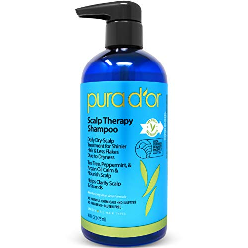 PURA D'OR Scalp Therapy Shampoo - Hydrates & Nourishes Scalp - Scalp Care Shampoo For Itchy Flaky Scalp w/Tea Tree, Peppermint, Patchouli, Cedarwood, Clary Sage, Argan Oil 16oz (Packaging may vary)