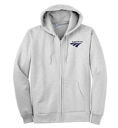 Zippered Sweatshirt Ash - Amtrak Travelmark Zippered Hoodie Sweatshirt Ash Adult L [252]