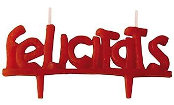 Velas cumpleaños FELICIDADES-4x11, 5 cm Vela de cumpleaños felicidades en Color Rojo. En Castellano yn catalán Decora Tus Pasteles de una Forma ...