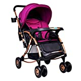Crib and Rocking Chair Combo DZFZ Strollers Toddlers Foldable Multi-Function Baby Comfort Stroller Crib Shock Absorber Two-Way Implementation 0-3 Years Old Boys Girls (Color : Purple)