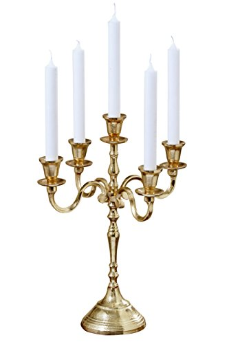 Whole House Worlds The Hamptons Five Candle Golden Candelabra, Hand Crafted of Cast Aluminum Nickel, Over 1 FT (15 ¾ Inches) By