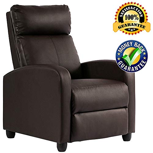 Single Recliner Chair Modern PU Leather Chaise Couch Single Sofa Furniture Reclining Padded Seat Home Theater Seating for Living Room,Brown ()