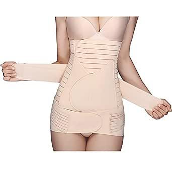 ZHUZHEN 3 in 1 Postpartum Support Recovery Belly Waist Pelvis Belt Shapewear Beige