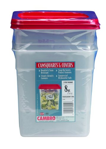 Cambro Set of 2 Square Food Storage Containers with Lids, 8