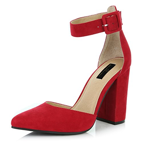 - DailyShoes Women's Casual Pointed Toe Chunky Ankle Strap Buckle High Heels Sandals, Red Suede, 9 B(M) US