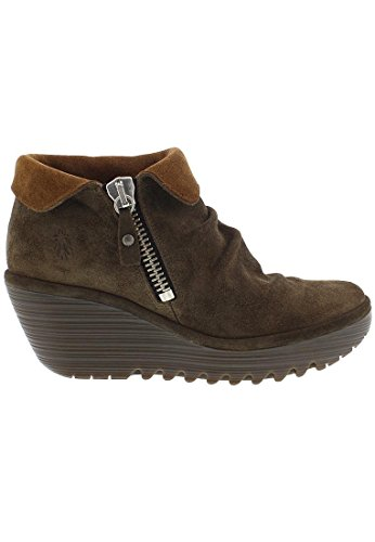 Platform Boot Suede London Yoxi Womens Wedge Ankle Fold Fly Cuff Heel Sludge Oil nAPOwOT8x
