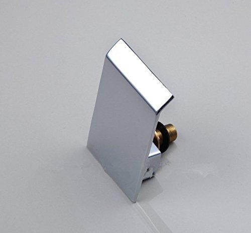 GOWE Waterfall Bathroom Bathtub Basin Brass Ceramic Chrome Sink Mixer Double Handles Deck Mounted Tap Faucet 3