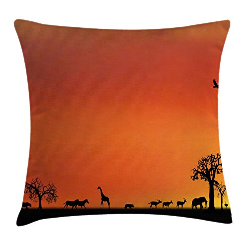 Ambesonne Africa Throw Pillow Cushion Cover, Panorama of Safari Animals Gulls Reflections in Background at Sunset Scenery, Decorative Square Accent Pillow Case, 26 X 26 inches, Burnt Orange Black by Ambesonne