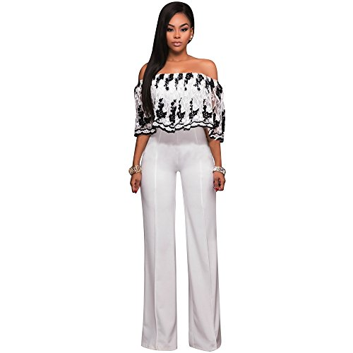 Women Sexy Off Shoulder Floral Lace Ruffle Sleeve Wide Leg Long Pants Jumpsuit Romper Clubwear Black White, Small