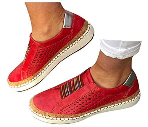 Womens Flat Shoes Slip On Shoes Flat Sneakers Running Sports Shoes Hollow-Out Round Toe Business Shoes by Gyouanime Red