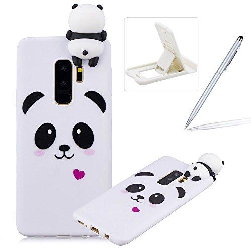 Soft TPU Case for Galaxy S9 Plus,3D Flexible Rubber Case for Galaxy S9 Plus,Herzzer Premium Stylish Cute Panda Printed Slim Fit Shockproof Scratch Resist Silicone Bumper Back Cover