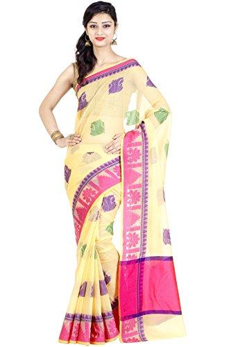 Chandrakala Women's Cream Cotton Blend Banarasi Saree,Free Size(1123CRE)